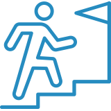 Icon of a stick figure walking up stairs to a flag of completion.
