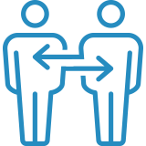 Icon of two stick figures and arrows pointing from one to the other.