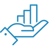 Icon of a hand holding a chart.